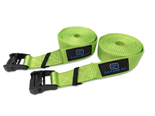 Garage Fit Premium Heavy Duty Replacement Gym Ring Straps - Cross Training, Gymnastics, Fitness, Exercise (Green Straps Only)