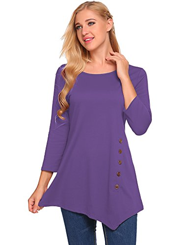 BLUETIME Womens Scoop Neck Loose Blouse 3/4 Sleeve Asymmetrical Tunic Tops Plus Size (XXL, Purple) (Scoop Neck Sleeve 3/4 Top)