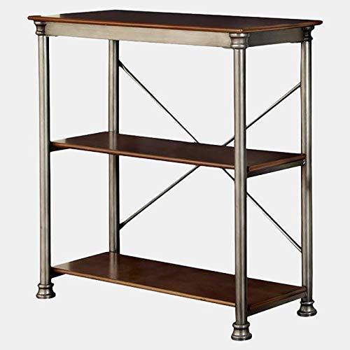 Steel Frame Bookcase - Bookcase with 2 Veneer Shelves - -