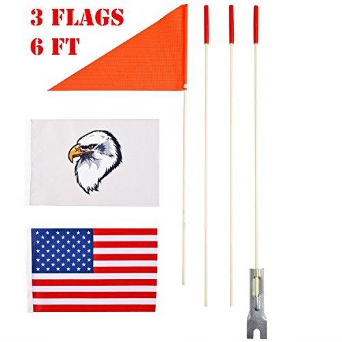 szlzhsm Safety Flag Six foot Heavy Duty fiberglass pole Polyester Full Color Tear-resistant Waterproof Flag Orange Safty Flag Eagle And American Flag (Flag Bike)