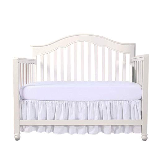 "White Crib Bed Skirt Split Corner,Dust Ruffle 100% Cotton Nursery Crib Toddler Bedding Skirt for Baby Boys or Girls, 14"" Drop from Loom Atrium"
