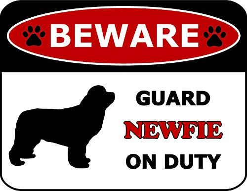 (Top Shelf Novelties Beware Guard Newfoundland On Duty (Silhouette) Laminated Dog Sign SP126 (Includes Bonus I Love My Dog Decal))