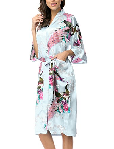 CHENXI Women Sleepwear Kimono Robes for Bridemaids Party, Light Blue XXL