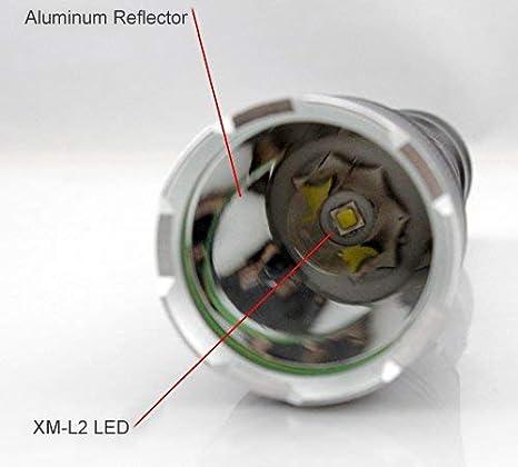 Linterna LED Recargable, Tactica Linternas LED Alta Potencia Militar 3000 L/úmenes (Bater/ía y Cable USB Incluidos Linterna T6