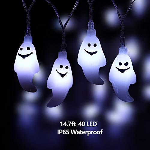 YUNLIGHTS Halloween Ghost String Lights, 14.7ft 40 LED Battery Operated Halloween Lights with Remote Control, 8 Modes Waterproof White String Lights for Indoor Outdoor Halloween Decorations