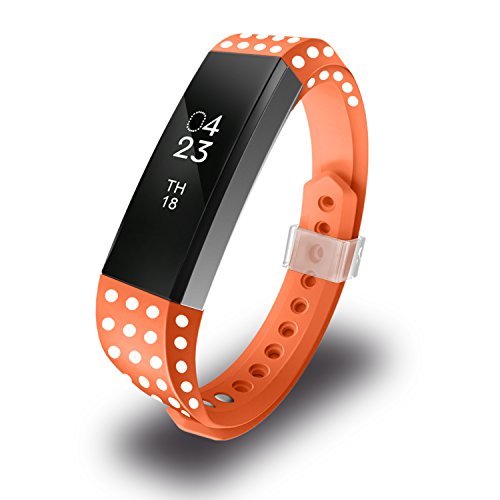 Greeninsync Bands for Fitbit Alta, Replacement for Fitbit Alta Bands Replacement Small Size with Metal Clasp for Fitbit Alta HR/Fitbit Alta/Fitbit Ace Sport Arm Band No Tracker, Polk Dot(Orange)