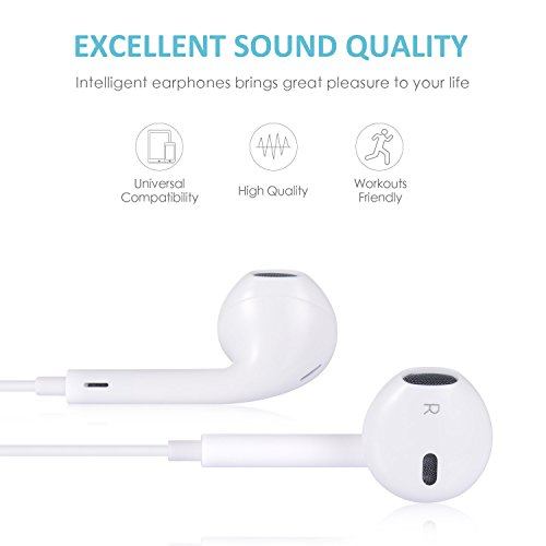 Earphones, Microphone Earbuds Stereo Headphones Noise Isolating Headset Made Compatible iPhone 7/7 Plus iPhone8/8Plus iPhone X Earphones,Support All System by my-handy-design