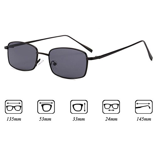 Negras UV400 de Gafas Rectángulo para Mujeres juqilu Metal de Marco Cuadradas Gafas Pequeñas Sol Sol Hombres C1 de qwaz0Ow