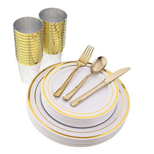150 Pieces, Gold Disposable Plastic Dinnerware Set, Elegant Plates, Silverware, Cups for Wedding, Party, Includes 25 Dinner Plates, 25 Dessert Plates, 25 Tumblers, 25 Forks, 25 Knives, 25 Spoons