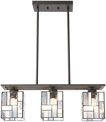 VINLUZ 3 Light Contemporary Tiffany Style Kitchen Island Chandelier with Stained Glass Shade,Vintage Oil Rubbed Bronze Hanging Pendant Lighting for Dining Room Kitchen Coffee Bar