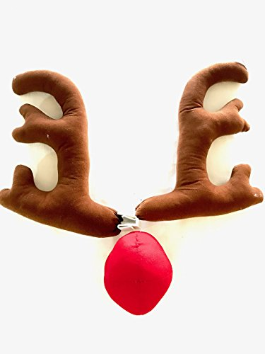 Christmas Raindeer Antlers for Cars, Trucks, SUV, Vans with Rudolph Red Nose Costume (Raindeer Decorations)