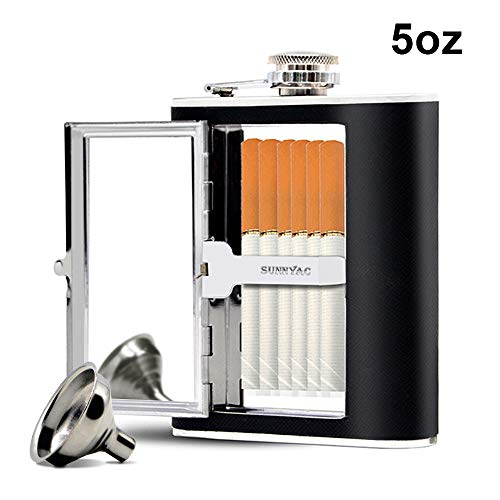 (Sunnyac Stainless Steel Hip Flask, Leak-proof Hidden Flask with Cigarette Case and Leather Wrapped Cover, Including a Funnel and White Box, Black (5 Ounce))