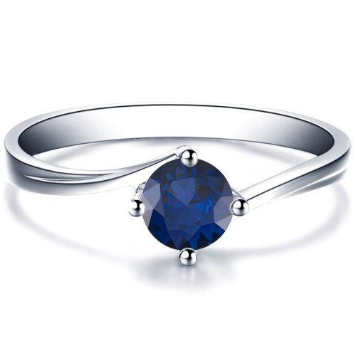 Round Cut Blue Sapphire Engagement Ring 14k White Gold or Yellow Gold Platinum HANDMADE September Birthstone Diamond Ring Free Shipping