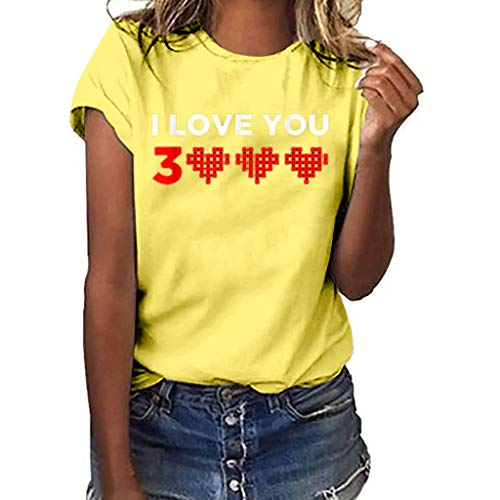 Fashion Women Shirt Heart Printing Loves You 3000 Tees T-Shirt Short Sleeve Simple Top Casual O-Neck Blouse Yellow L