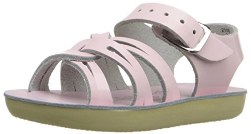 Salt Water Sandals by HOY Shoe Girls' Sun-San Strap Wee Flat Sandal, Shiny Pink, 3 M US Infant ()