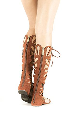 Gladiator Solo Pu the Sandals 15 Over Breckelles Tan Flat Womens Knee AXUpUq