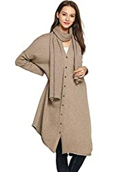 Women Sweater Cardigan Cashmere Button Down Open Front V Neck Loose Frilled Asymmetrical Trim Oversized 2 Pcs With Scarf Camel Free Size