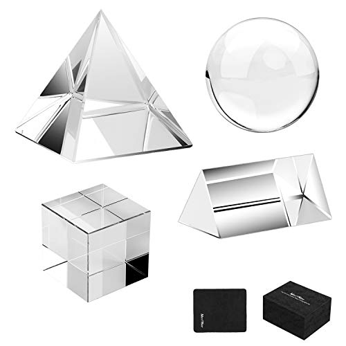 MerryNine 4 Pack K9 Optical Crystal Photography Kits 60MM Lens Ball and Cube 60MM Crystal Prism and Pyramid for Photography Teaching Light Spectrum Physics and Photo Prism Art Decor Special Gift