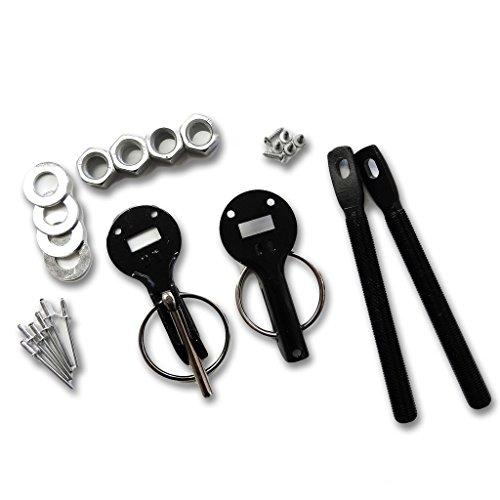 Universal Aluminum Mount Bonnet Hood Pin Pins Lock Latch Kit Black HS25901-BK