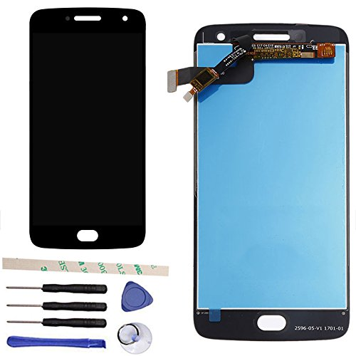 Draxlgon 100% Tested LCD Display Touch Screen Digitizer Assembly Replacement for Moto G5 Plus XT1684 XT1685 XT1687 5.2 (Black)