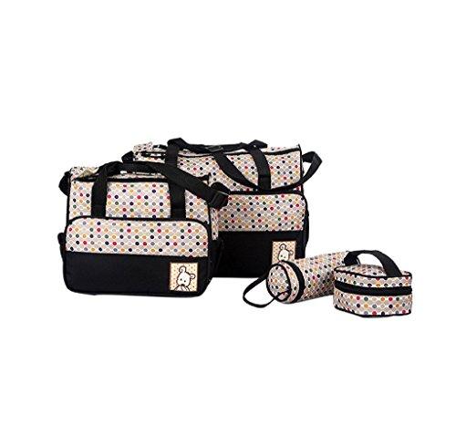 Finerolls Set 5 kits Bolsa de Mama Para Bebe Biberon Bolso/Bolsa/Bolsillo Maternal Bebé para carro carrito biberón colchoneta comida pañal con Gran Capacidad de 8 Colores #2 Negro