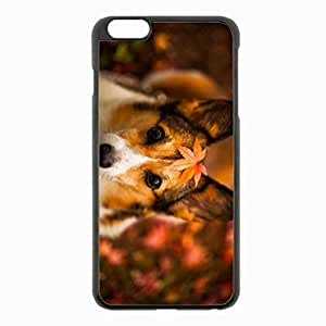 iPhone 6 Plus Black Hardshell Case 5.5inch - dog leaves autumn Desin Images Protector Back Cover