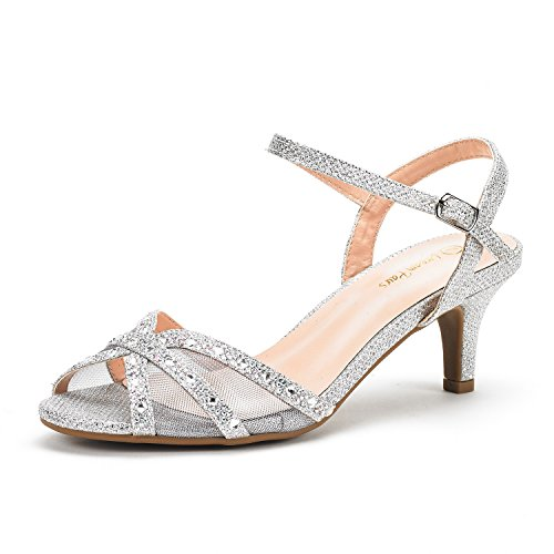 DREAM PAIRS Women's Nina-150 Silver Low Heel Pump Sandals - 9.5 M US ()