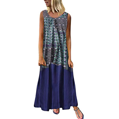 - DondPo Women Vintage Bohemian Folk Dresses Summer V-Neck Boho Sleeveless Floral Printed Plus Size Beach Maxi Dress Blue