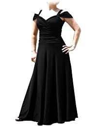 Womens Plus Size Elegant Long Formal Evening Dress with Shoulder bands