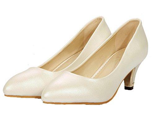 Allhqfashion Dames Pu-pumps Puntige Neus Massief Pumps-schoenen Wit