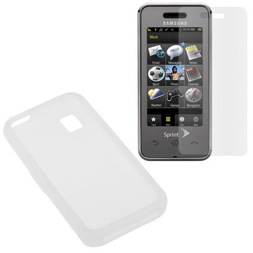 Soft Silicone Skin Case + Clear Reusable LCD Screen Protector for Sprint Samsung SPH-M800 Instinct Cell Phone ()