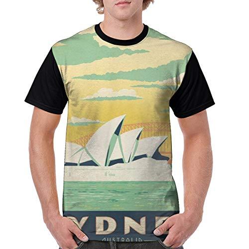 Mens Sydney Australia Travel Poster Crazy 3D Printed Tshirts Casual Creative Crewneck Short Sleeve Graphic Tees Black