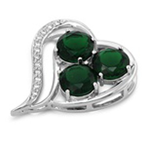 (Heart Pendant Simulated Emerald Clear CZ .925 Sterling Silver Triple Charm - Silver Jewelry Accessories Key Chain Bracelet Necklace Pendants)