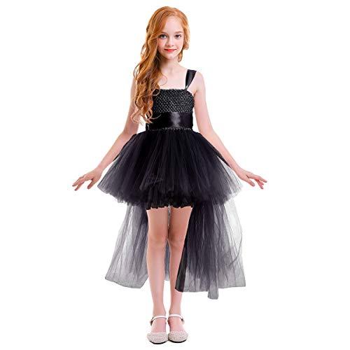 Black Tutu Fancy Dress - Little Girls Handmade Flower High Low