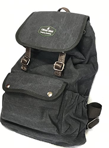 Canvas & Leather Backpack 33L   Drawstring Rucksack Satchel Daypack   Travel Hiking Trekking Camping Gym School Laptop   Unisex Casual Vintage Lightweight Bag (Black)