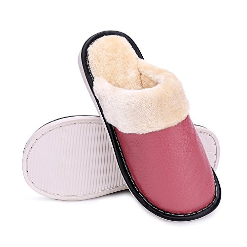 Indoor Pink Plush okay For and Winter Leather Comfortable Outdoor Slippers Lining Women Men and 1qAT5w