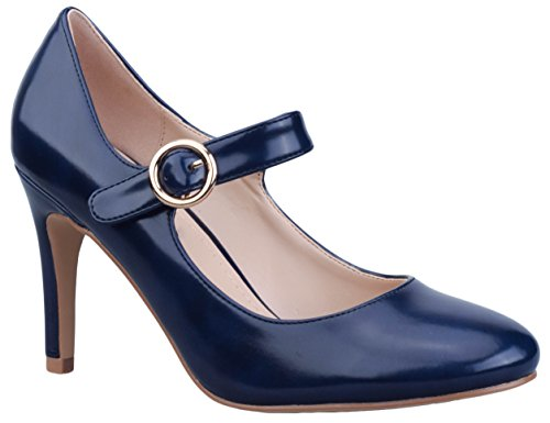 Greatonu Womens Blue Patnet Smart Ankle Strap Mary Jane Work Pumps Court Shoes