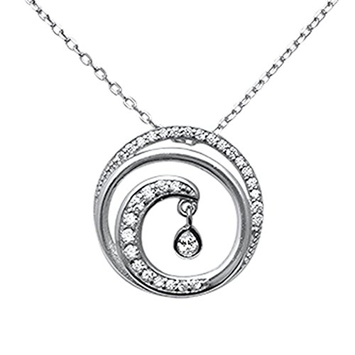 Oxford Diamond Co Sterling Silver Cubic Zirconia Swirl Ocean Wave Necklace -