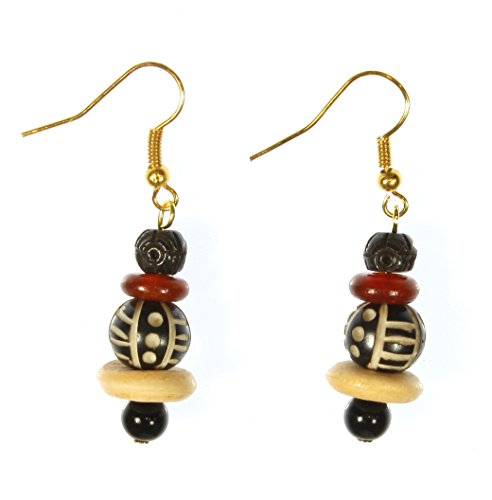 Style ARThouse Tribal Connection Carved Bone and Horn Earrings, Dangle 1.75 Inches
