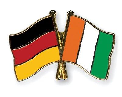 Cote-Allemagne & d-Ivoire drapeaux de l'amitié, pour couple plaqué or-Gifts Épinglette émaillée