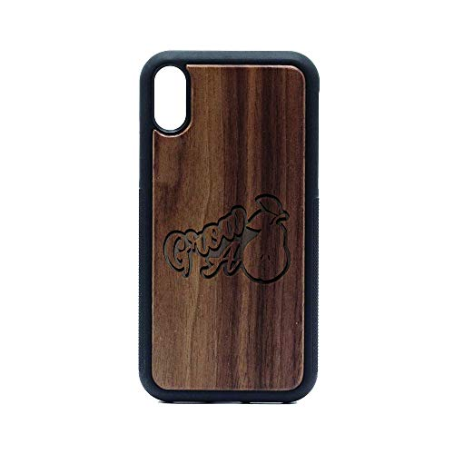 Humor Grow A Pair PEAR - iPhone XR CASE - Walnut Premium Slim & Lightweight Traveler Wooden Protective Phone CASE - Unique, Stylish & ECO-Friendly - Designed for iPhone XR