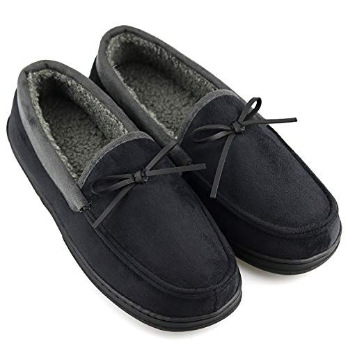 Mens Casual Memory Foam Comfortable Moccasin Slippers House Shoes Indoor/Outdoor Anti-Slip Rubber Sole
