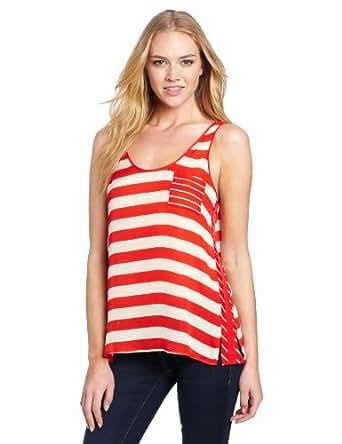 Michael Stars Women's Positano Stripe Silk Tank, Tomato, X-Small