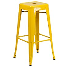 """Flash Furniture Backless Metal Indoor/Outdoor Barstool with Square Seat, 30"""", Yellow"""