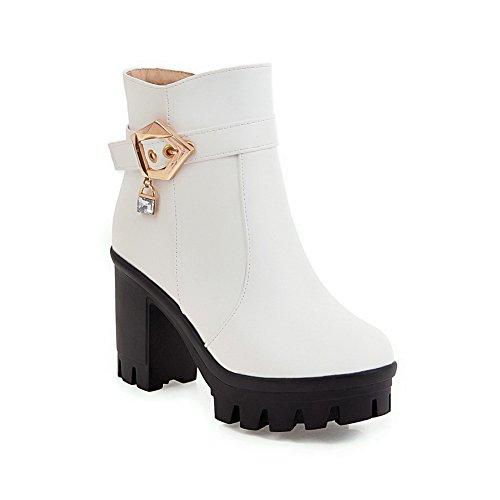 ABL10405 Dress Platform Buckles Resistant Womens Metal BalaMasa White Slip Urethane Boots qzBwg5I