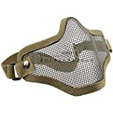 Lowpricenice Airsoft Half Face Mask With Wire Mesh Tan