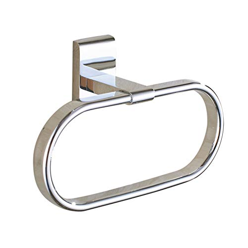 (Estrend Stainless Steel Towel Ring Holder Heavy Duty Brass Pedestal Wall Mounted for Bathroom & Kitchen Polished Chrome Oblong)