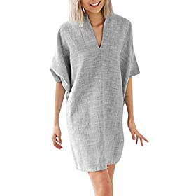 Alangbudu Womens Sexy V Neck Casual Cotton and Linen Batwing Bell Sleeve Cocktail Party Sheath Shift Dress