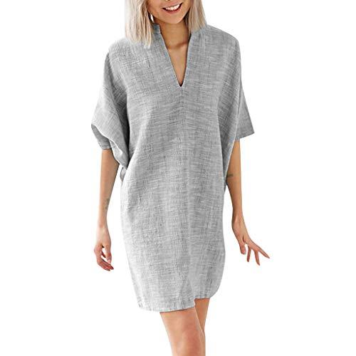 Aniywn 2019 Women New Mini Dress Summer Loose Cotton and Linen Half Sleeve Solid V-Neck Dresses Gray