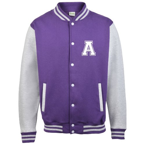 Disponibile Grey Adulti Sleeves Diversi Personalised Con Da Iniziale Varsity Colori Baseball Solo college In giacca amp; Su Anteriori Purple PTxfnqg
